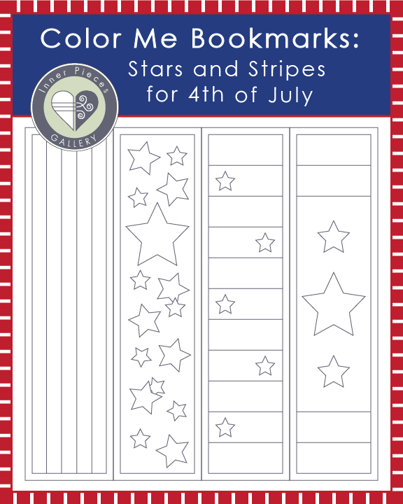 Color-Me Bookmarks: Stars & Stripes for 4th of July. A fun Independence Day excuse to keep the kids reading. Free printable for kids.