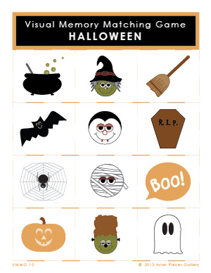 Halloween Visual Memory Matching Game for Kids - Printable