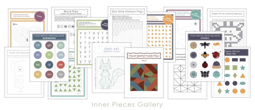 Printable cognitive skill-builders for kids from Inner Pieces Gallery