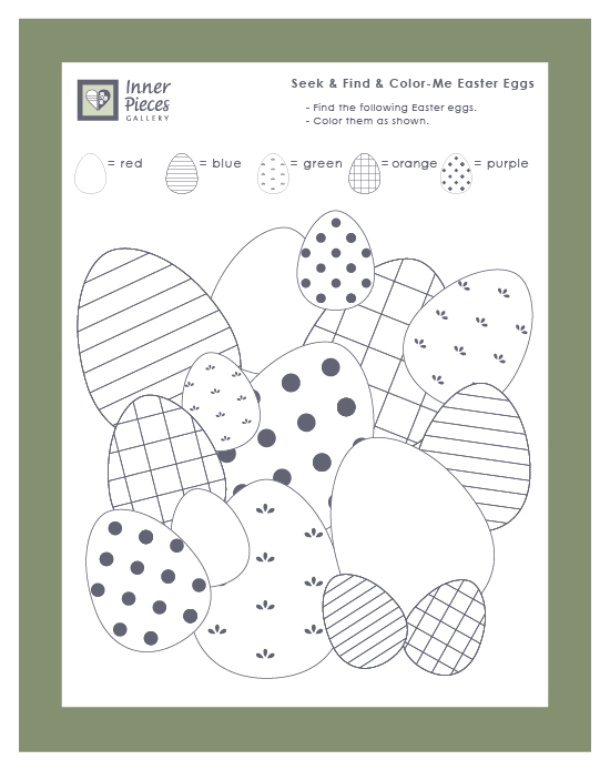 This Easter themed printable activity for kids helps build visual discrimination, visual figure ground, and other important learning skills. Seek, find and color. Just one of many learning powered printables for spring.