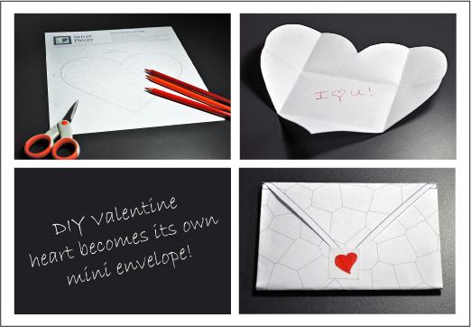 Printable DIY Mosaic Valentine as Envelope