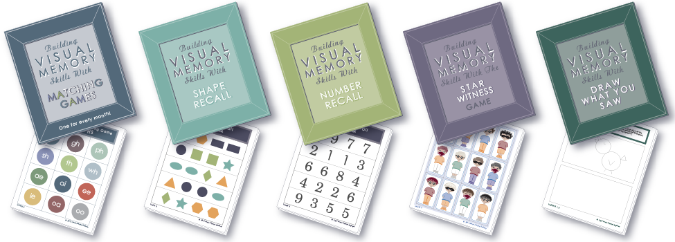 Find five different visual memory skill builders for kids in Building Visual Memory Skills, The Book.