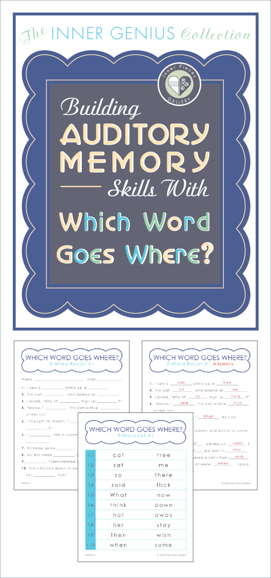 """Building Auditory Memory Skills with Which Word Goes Where?"" offers a fun way for parents and teachers of struggling learners to improve auditory memory and listening skills. This advanced level auditory memory activity for kids is easy to implement at home or in the classroom, and adaptable to multiple skill levels."