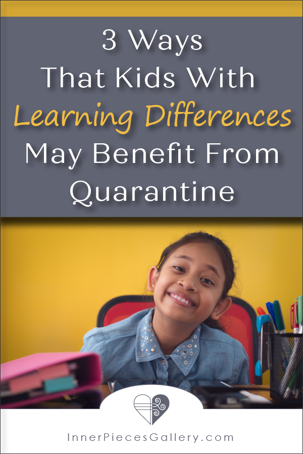 smiling girl at desk, yellow background, caption reads: 3 Ways That Kids With Learning Differences May Benefit From Quarantine