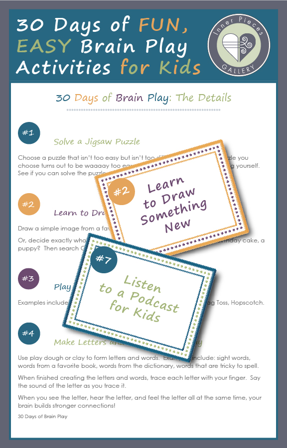 "Keep your children's brains engaged all year long! 30 Days of Brain Play is a free printable that's full of fun, easy to implement, low-tech activities that secretly exercise mental muscles. Choose a new activity each day or add the complete stack of idea cards to a ""boredom busters"" bin. So many options."