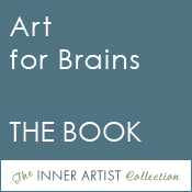 Small, blue square button with caption: Art for Brains THE BOOK