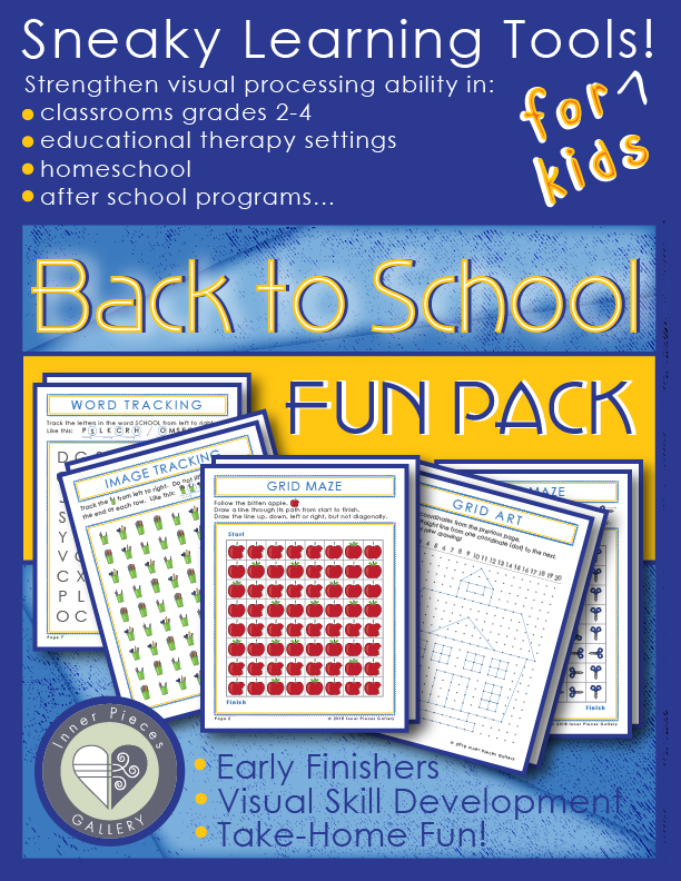 Make the transition back to school a little more fun and a little less intimidating with this Back to School Activity Fun Pack for kids. Enjoy plenty of skill building exercises for visual skills, executive function, working memory and more. Grades 2-4 or therapeutic intervention.
