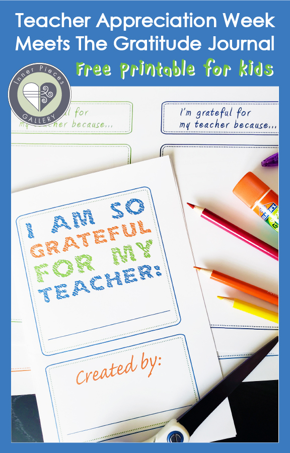 """Colored pencils, scissors, glue stick on top of pages of printed journal. Cover reads """"I am so grateful for my teacher."""" Caption reads """"Teacher Appreciation Week Meets The Gratitude Journal - Free Printable for Kids"""