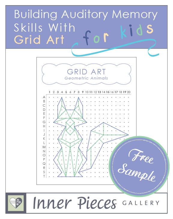Help kids improve auditory memory skills and learning abilities the sneaky fun way. Print this free sample of Building Auditory Memory Skills With Grid Art: Geometric Animals and let the kids take it for a test drive. Great for educational therapy, speech therapy, special education and homeschool, or just for the fun of it!