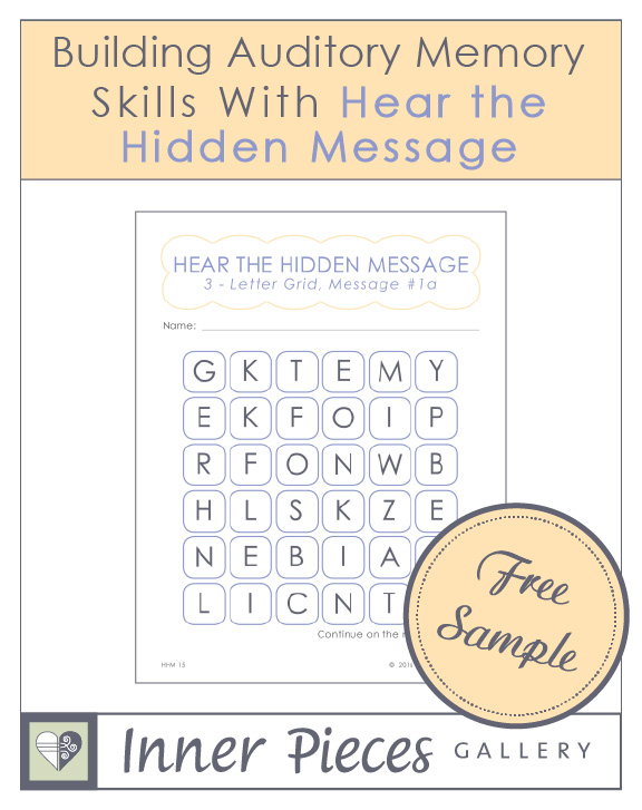 "Here's a fun way to help children, especially struggling learners, improve auditory memory and listening skills. Try this free printable sample of ""Building Auditory Memory Skills with Hear the Hidden Message."""