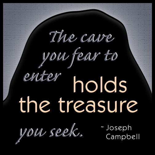 Illustrated quick quote: Joseph Campbell on fear and courage.