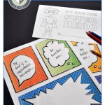Orange, green, blue thought bubbles comics-style. Printable DIY Father's Day/Birthday mini-book.