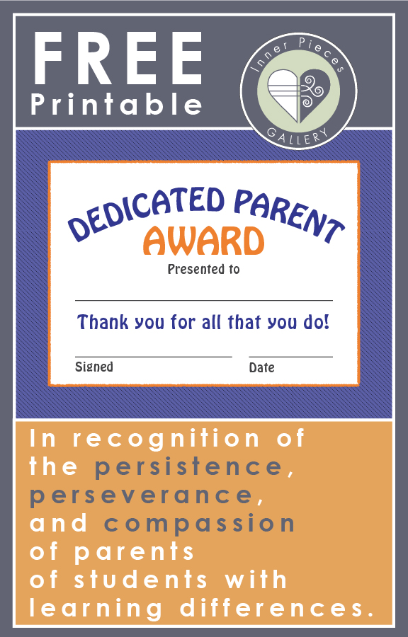 All you moms and dads of students with learning differences (also unfortunately know as learning disabilities) this one is for you! I solute your dedication to helping your children receive the best education possible. It's not often easy. And teachers, print this freebie for all of the dedicated parents you wish to recognize, LD or otherwise. They are often our unsung heroes.