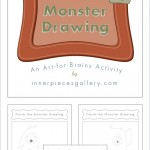 Sample pages of Finish the Monster Drawing. Illustrated black and white monsters, half unfinished.