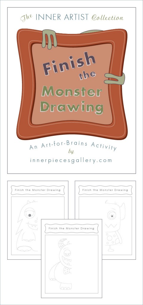 Finish the Monster Drawing, An Art-for-Brains Activity.  Not just friendly, these printable monster drawings help students build visual closure skills and much more. A great art lesson for Halloween and all year round.