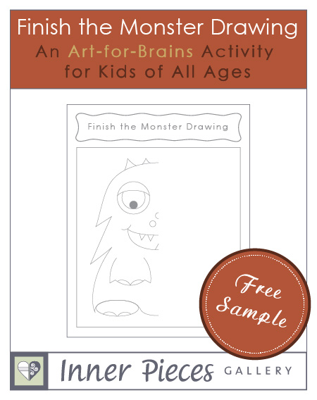 Kids finish the drawing of a friendly printable monster, add their own creative twist, and build visual processing skills while enjoying this fun art activity.