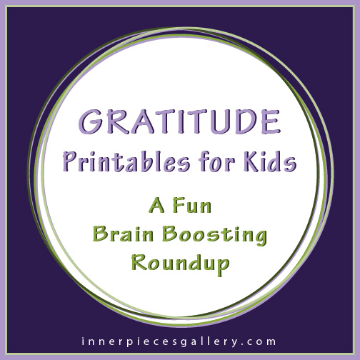 Gratitude Printables for Kids, including a DIY journal, bingo game, thank you card and more!