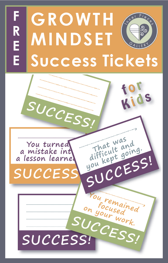 "For the child who isn't necessarily intrinsically motivated to keep trying no matter how difficult the challenge, growth mindset training may be just ""the ticket."" Try these growth mindset success tickets to reinforce student achievement based on effort, not intelligence. Free printable. Great for home or classroom use."