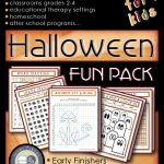 Halloween themed worksheets, illustrated.