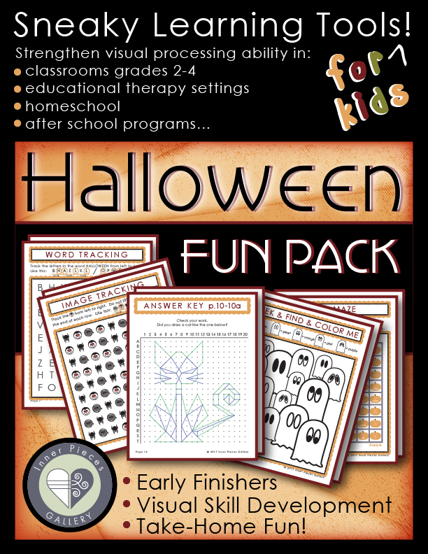 Give this Halloween Activity Fun Pack to your children or students and expand learning abilities. Moms, dads and teachers will know its secret purpose, to strengthen visual discrimination, visual tracking, visual figure ground and spatial awareness. Kids won't notice their mental muscles working, and may even ask for more!
