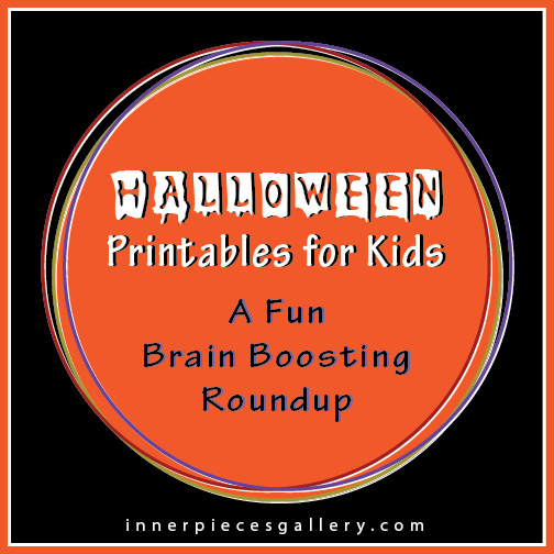 A roundup of Halloween themed learning powered printable fun for kids from Inner Pieces Gallery.