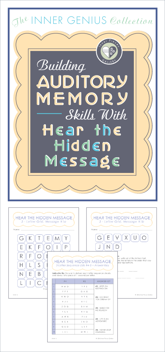 "Take auditory memory skills beyond the basics with this fun and engaging activity for kids. ""Building Auditory Memory Skills with Hear the Hidden Message"" offers a fun way for parents and teachers of struggling learners to improve auditory memory and listening skills."
