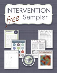 Are you ever at a loss when helping your struggling students? Wonder which intervention strategies work for which challenges? Try the Intervention Sampler, free. Build visual tracking, visual memory, visual closure, visual figure ground, visual discrimination, and spatial awareness. Learn when and why to target each skill.
