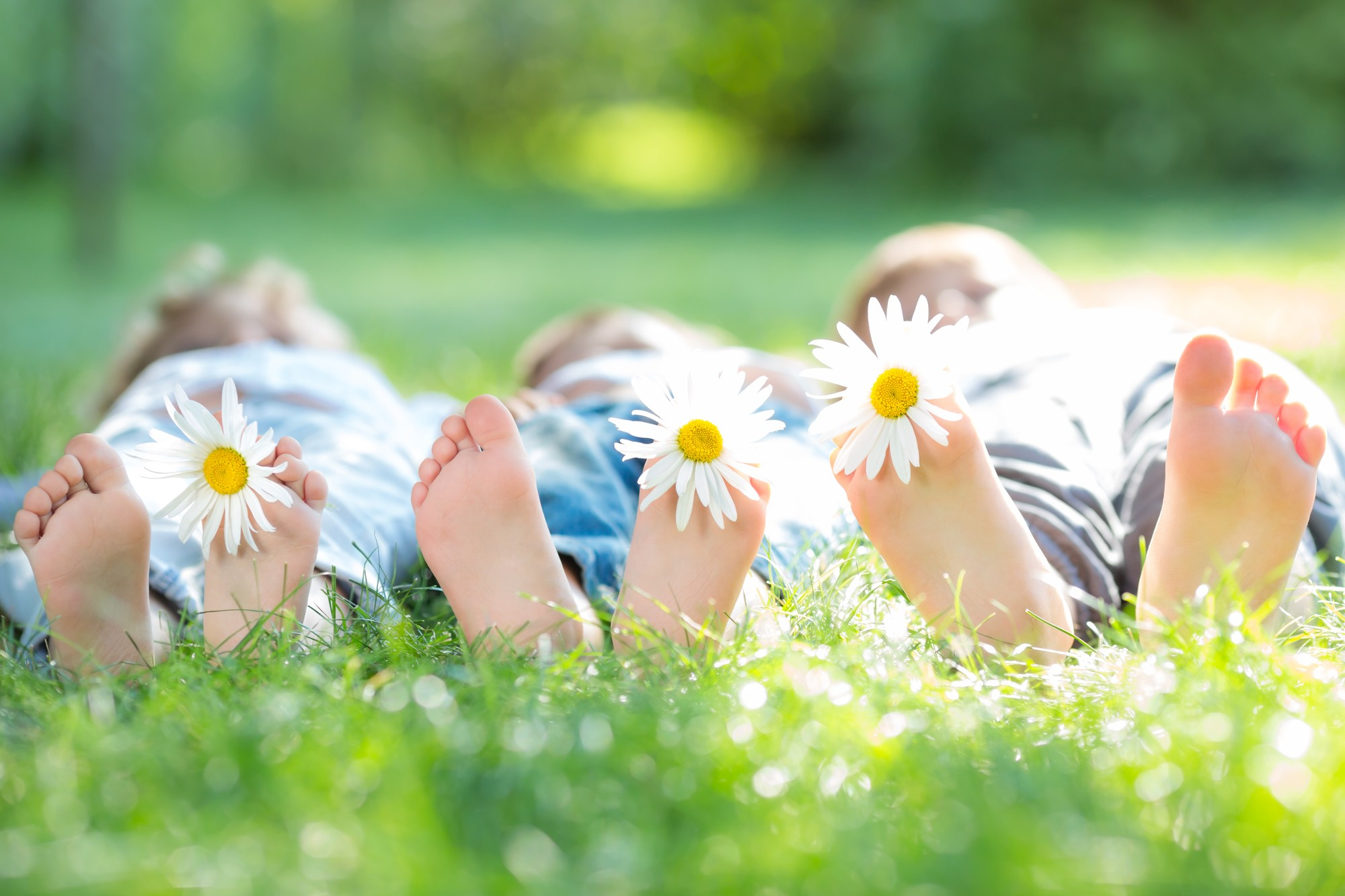 Group of happy children with flowers lying outdoors in spring park