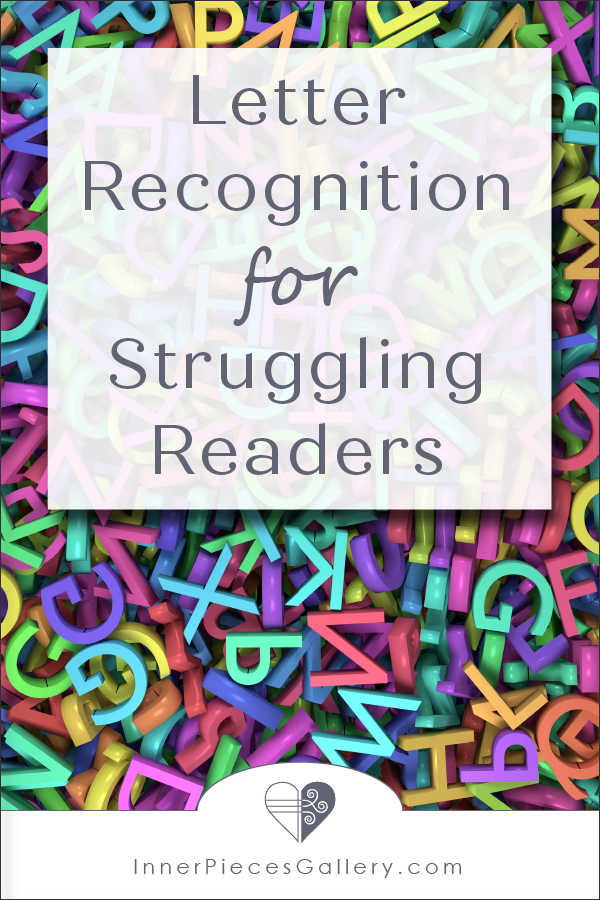 Jumble of colorful uppercase and lowercase letters. Caption reads: Letter Recognition for Struggling Readers