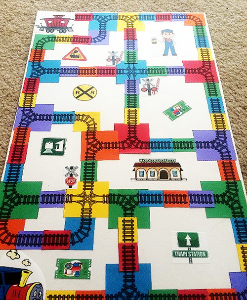 Game board for centers or stations.