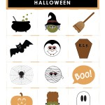 Memory Matching Game with 12 Halloween themed illustrations for Kids - Printable