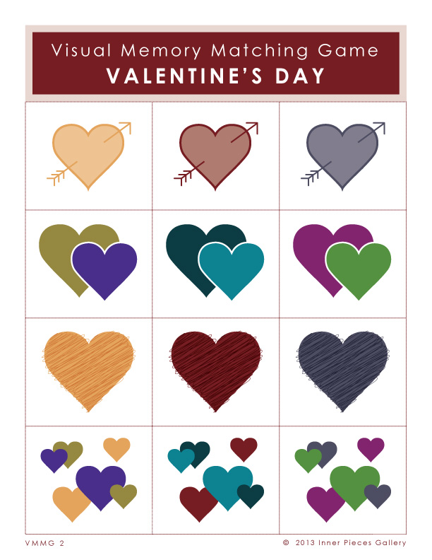 Variety of multi-colored hearts on a 3 x 4 grid. Caption reads: Visual Memory Matching Game Valentine's Day