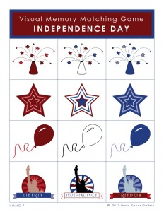 An Independence Day Visual Memory Matching Game for the 4th of July. Part of a Holidays bundle to strengthen children's visual memory skills and more.