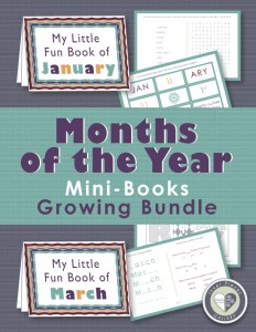 A growing bundle of mini activity books for kids helps reinforce knowledge of the months of the year.