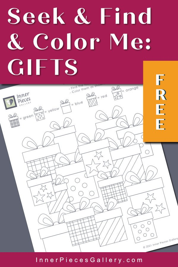 Seek and find worksheet with layered illustrations of gifts (striped, plaid, polkadot). Gray background, hot pink header with title