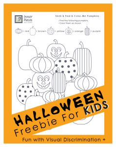 Free printable for kids! Sneak in a little visual skill-building this Halloween. While children have fun seeking, finding, and coloring the proper pumpkins they also strengthen visual discrimination skills and more.