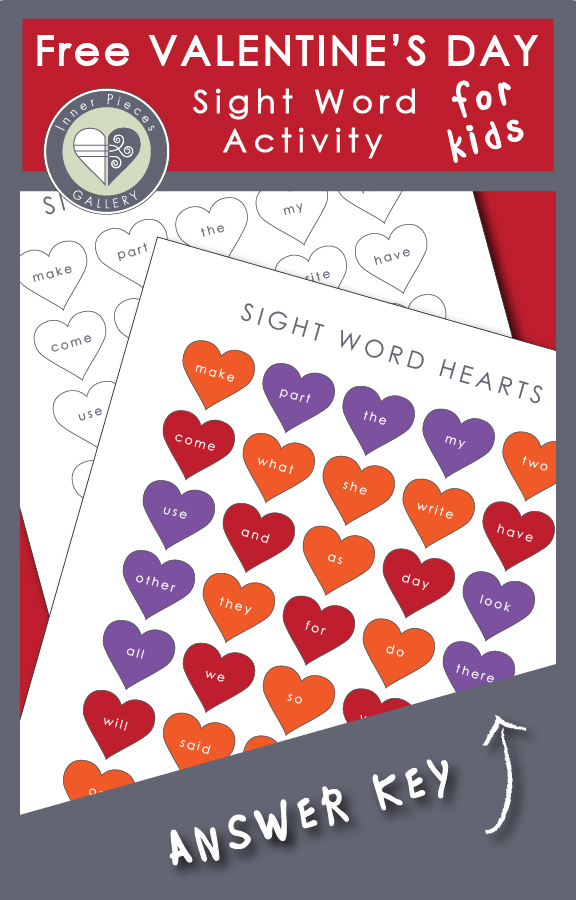 2 worksheets containing small hearts with sight words written on them. One colored orange, purple, red, one black & white. Caption reads: Free Valentine's Day Sight Word Activity for kids