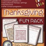 Shows a variety of overlapping pages of activities, including a grid maze, image tracking, seek and find. Largest captions read: Sneaky Learning Tools for kids. Thanksgiving Fun Pack.