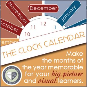 Is your child or student more of a big picture thinker? Let The Clock Calendar help you teach the months of the year in a way that is memorable for big picture, non-linear learners.