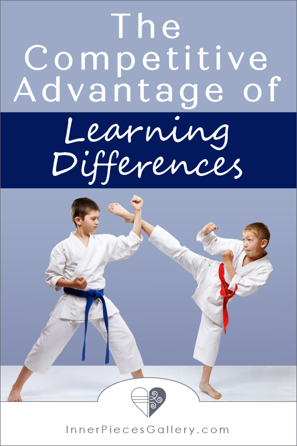 Two boys in karate gear sparring together, leg to fist block, blue background, one red belt, one blue belt. Caption above image reads: The Competitive Advantage of Learning Differences.