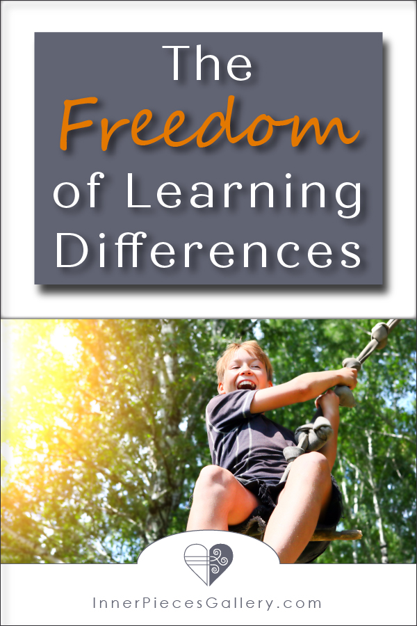 Boy smiling, swinging on rope swing, green trees and sunshine in the background. Caption reads: The Freedom of Learning Differences
