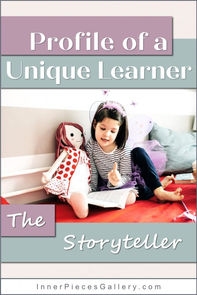 Girl in bedroom reading story to doll in red polkadots.