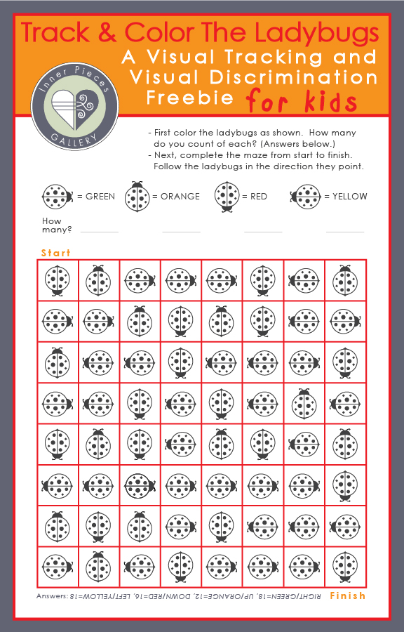 Need to help kids build concentrations skills? Solving this ladybug themed grid maze requires a fair amount of attention and focus. This free printable also helps children improve visual tracking, visual discrimination, and visual figure ground skills, all essential on the road to becoming strong readers.