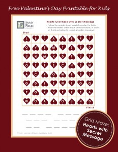 Kids crack the code to reveal a secret Valentine's Day message as they make their way through this printable grid maze. Shhh! You're secretly helping them build visual discrimination skills, visual figure ground skills and even more learning skills in the process. Don't worry. Your secret is safe with me.