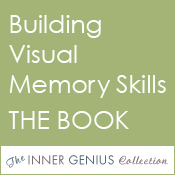 Small, grren square button with caption: Building Visual Memory Skills THE BOOK.