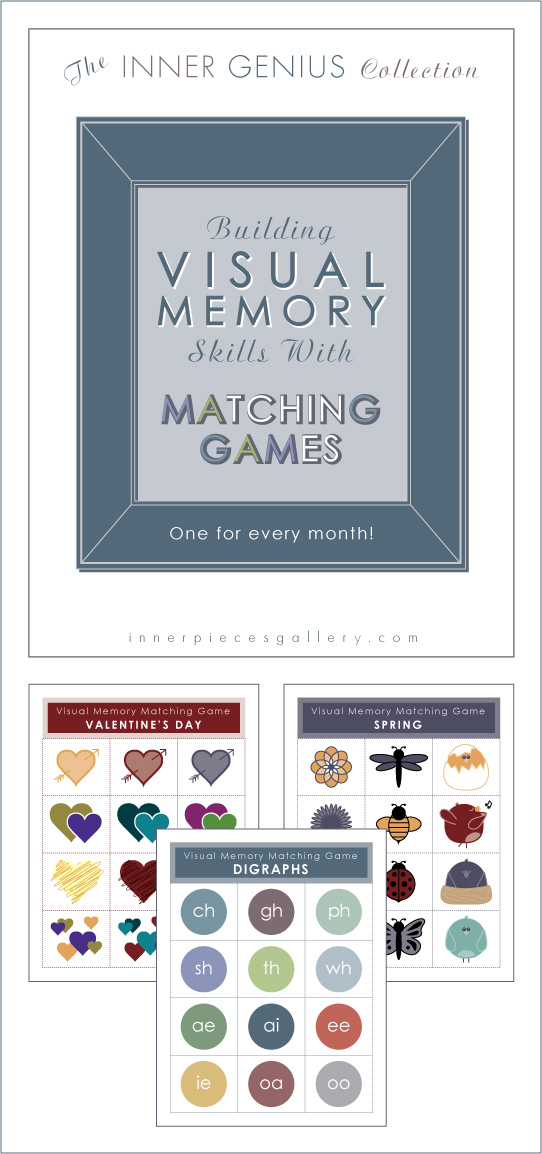 3 illustrated memory matching games: hearts, insects, digraphs