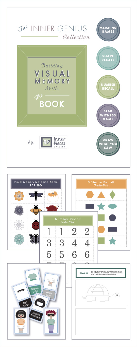 Help kids build visual memory skills with 5 different categories of fun, therapeutic learning activities.