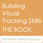 Small, orange square button with caption: Building Visual Tracking Skills THE BOOK