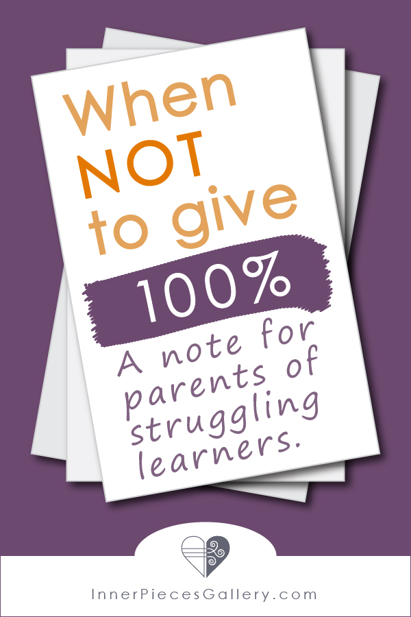 Students with learning difficulties (a.k.a. disabilities, challenges, unique learning styles) need us to do the opposite of what feels natural. Learn when NOT to give 100%, then watch your learner grow!